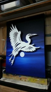 in the studio painting canvases for the back drop of the next heron sculpture in flight""