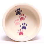 Dog Bowl with pink paw prints